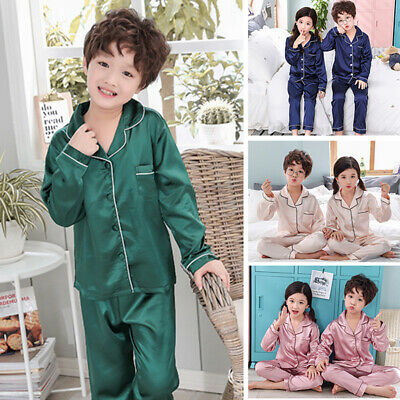 Girls Boys Silk Satin Pyjamas Set Kids Children Homewear Sleepwear Long Sleeve