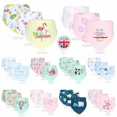 3Pcs Infant Baby Bandana Bibs Boy Girl Triangle Towel Feeding Apron With Button