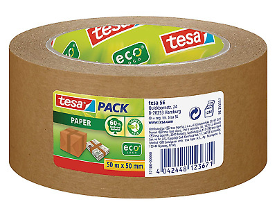 tesa Paper Packaging Tape Made From Recycled Materials for Packing Parcels and m