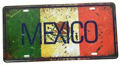 Mexico Mexican Flag 3D Letters Licence Plate 12x6  Tin Sign Wall decor Man Cave