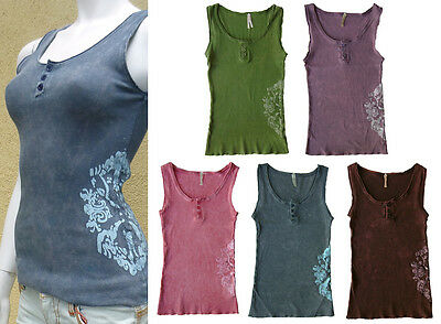 Women Mineral Wash Floral Stretchy Junior Tank Top Pink Purple Brown Green Gray
