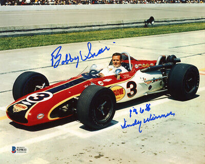 BOBBY UNSER SIGNED AUTOGRAPHED 8x10 PHOTO + 1968 INDY WINNER RARE BECKETT BAS