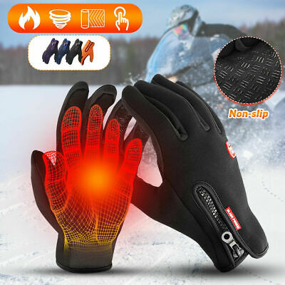 Mens Winter Sports Warm Gloves Windproof Waterproof Thermal Felin Screen Mittens