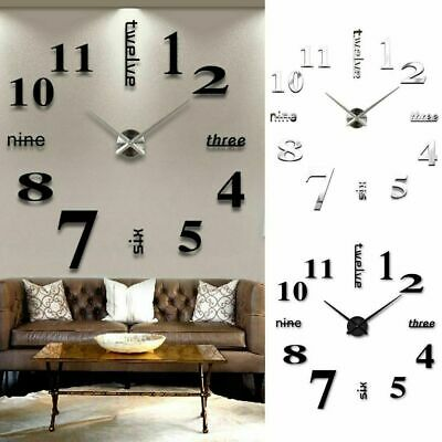 Large 3D DIY Wall Clock Roman Numerals Mirror Sticker Home Living Room Art Decor