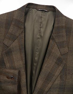 Canali Mens 52 42 L Blazer Jacket Wool Tweed Brown Beige Check Lux Made In Italy