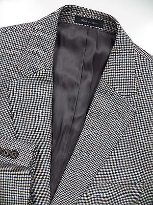 Ralph Lauren Men 56 46 L Blazer Jacket Silk Wool Grey Blue Red Houndstooth Check