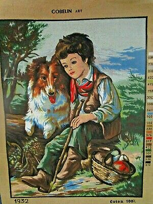Craft Tapestry Canvas New Gobelin Art 1932 Boy & Collie Dog