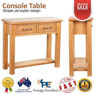 Wooden Console Table Hallway Entry Side Display Stand Drawers Solid Oak Wood NEW