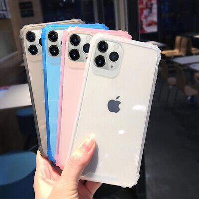 For iPhone 11 Pro Max XS XR X 7 8 6s Shockproof Bumper Soft TPU Clear Case Cover
