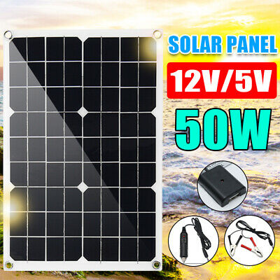 50W 12V/5V DC USB Solar Panel Battery Phone Car Charger RV Boat Home Waterproof