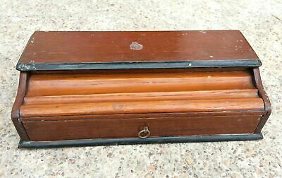 Vintage Rare 2 Compartments Ink + Pen Stand Holding English Wooden Box