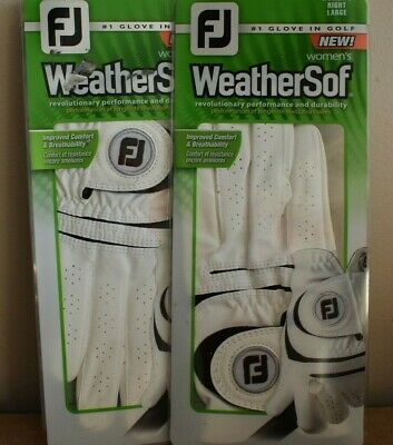 2 pack FootJoy WeatherSof Golf Glove Women's RIGHT LARGE