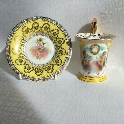 Antique 19th Century Royal Vienna Cherub Cabinet Cup And Saucer