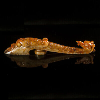 A Fine Collection Chinese 2thBC Han Hetian Jade Carving Dragon Phoenix Belt Hook
