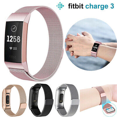 For Fitbit Charge 3 Strap Replacement Milanese Band Metal Stainless Steel Magnet