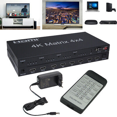 HDMI 2.0 Matrix 4X4 Splitter Switcher 4 in 4 out RS232&EDID Control HDCP 2.2 HDR