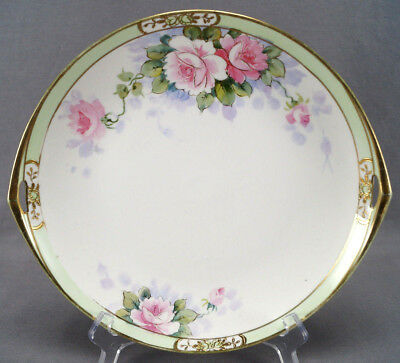 Hand painted Nippon Pink Rose Green & Gold Cake Plate Circa 1911 - 1921