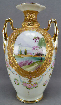 Nippon Hand Painted Landscape Pink Rose Jeweled & Gold Moriage 10 Inch Vase