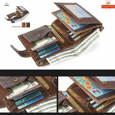 Men's RFID Blocking Leather Wallet Trifold Purse Card Holder Coin Pockets Gift