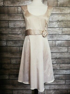 Bhs Size 14 Petite Champagne Cocktail Dress Satin Lined Prom Races Party Wedding