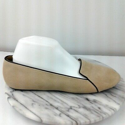 Talbots Womens Size 9.5 Beige Piped Suede Leather Slip On Casual Loafers