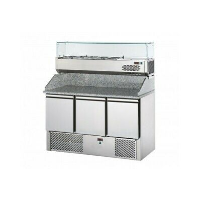 Refrigerated Saladette Td with Floor and Riser in Granite + Showcase - 3 Ports