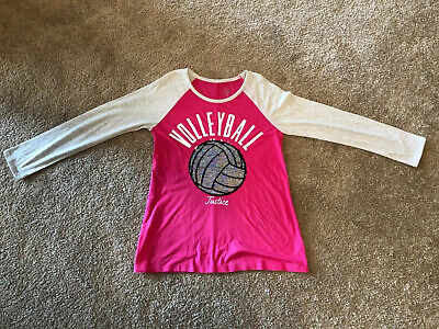 Justice Active Girl's LS Volleyball Shirt - Size 20 - Pink w/ Sequins - EUC