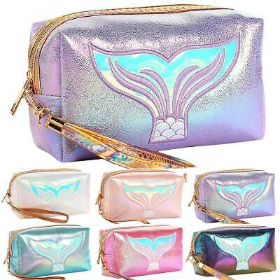 Womens Ladies Travel Cosmetic Make Up Vanity Case Fish Tail Toiletry Pouch Bag