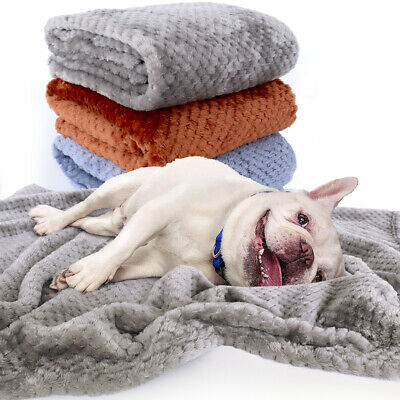 Dog Blankets Large Soft Warm Fleece Bed Mat Washable Cushion Kennel Thrown Gray