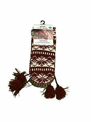 Muk Luks Womens Red Snowflake Slipper Socks Tall Tassels Large XL shoe size 8 10