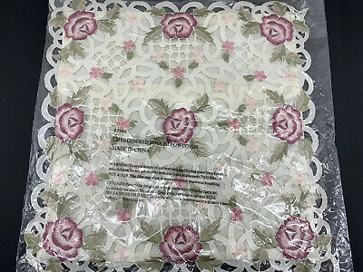 """Antique Style Throw PILLOW COVER Victorian embroidered ROSES & HEARTS 17x17"""""""