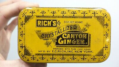 Vintage Rich's Canton Crystallized Ginger Hinged Tin Stash Box Storage Ad