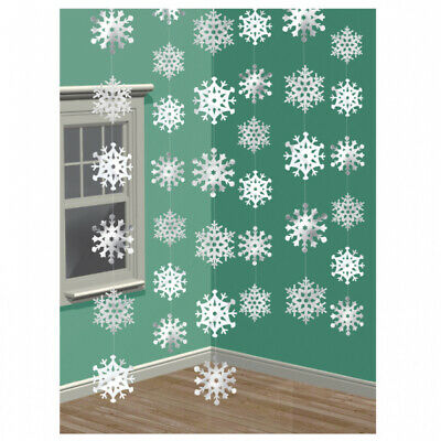 6 x EXTRA LONG Snowflake Christmas Birthday Party Hanging String Decorations