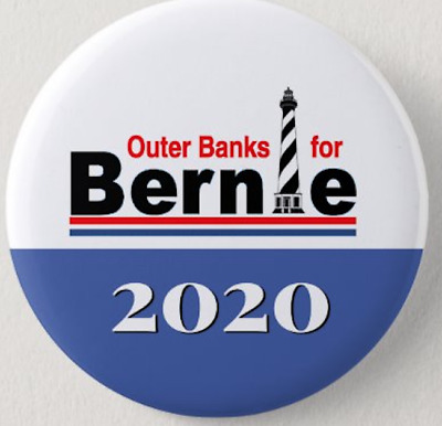 Sanders Button Political 2.25 Inch Outer Banks Bernie V Trump Pin Lighthouse