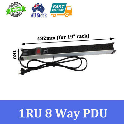 """8 way Power Distribution Units Air Switch 3 Lights for 19"""" Cabinet Rack Mount"""