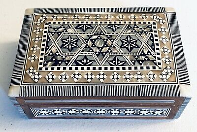 """Egyptian Handmade Jewelry Box Inlaid Mother of Pearl (6.6""""x4.2"""") FREE Shipping"""