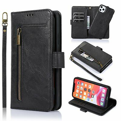 Removable Leather Phone Case Cover Wallet  Zip Card Slot Flip Coin For iPhone