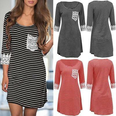 Women Ladies Sexy Stripe Bodycon Lace Dress Slim Fit Package Hip Skirt Leisure