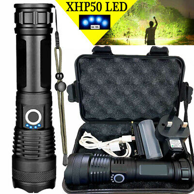 High Power 900000Lumens XHP50 Zoom Flashlight LED Rechargeable Torch Headlamp HH