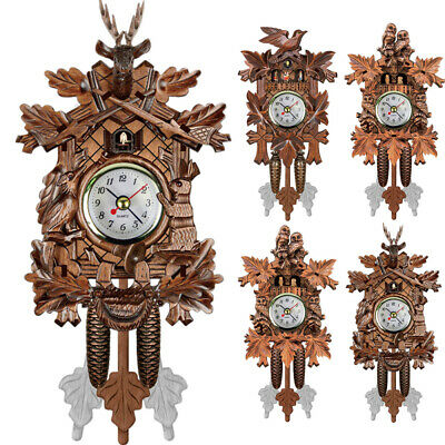 Antique Wooden Cuckoo Wall Clock Bird Time Art Vintage Swing Clock Home Decor UK