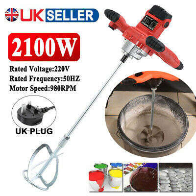 Paddle Mixer Electric Plaster Cement Mixing Paint Stirrer Plastering Whisk 2100W