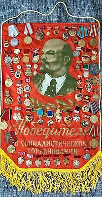 Lot of 55 Soviet Medals & Orders + USSR Lenin FLAG banner 100% Original