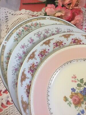 4 Vintage Mismatched China Dinner Plates Pinks Wedding Shower Alice Party #194
