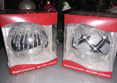 Silver Fancy Glass Decorated Holiday Christmas Ornament Ball Winter Snow NEW NIB
