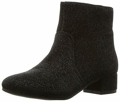 Kids Nine West Girls Alexius Ankle Zipper Chelsea Boots, Black Sparkle, Size 0.0