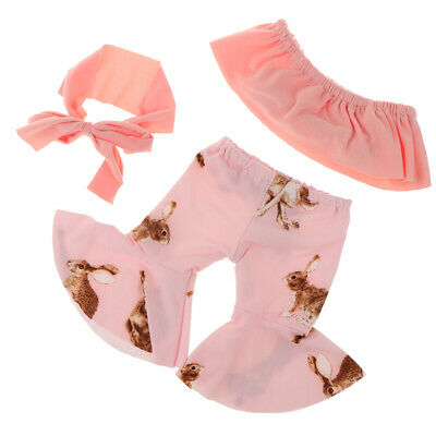 18inch Baby Doll Ruffle Tube Tops /& Pink Flares Pants For AG American Doll Doll