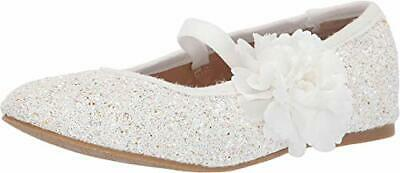 Badgley Mischka Kids Girl's Amber Flower, White Glitter,  Size Little Kid 2.0 US