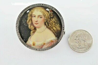Vintage Sterling Silver Brooch Victorian Revival Hand Painted Portrait 1950's
