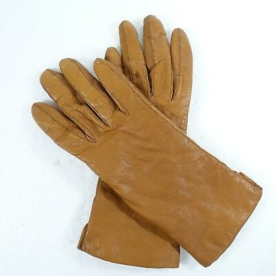 """Fownes Genuine Leather Brown Gloves Lined Cashmere Lambswool Blend 9.5"""" Sz 7"""