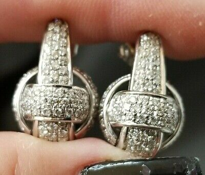 2.40TCW  Custom Modern Pave Diamond Knot 18k white gold earrings